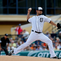 Feb 23, 2013; Lakeland, FL, USA; Detroit Tigers starting pitcher Anibal Sanchez (19) throws against the Toronto Blue Jays  during the first inning of a spring training game at Joker Marchant Stadium. Mandatory Credit: Derick E. Hingle-USA TODAY Sports