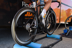 Nikki Brammeier warms up for Stage 5 of the Giro Rosa - a 12.7 km individual time trial, starting and finishing in Sant'Elpido A Mare on July 4, 2017, in Fermo, Italy. (Photo by Sean Robinson/Velofocus.com)