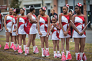 Baton twirlers in Santa costumes at the sixth annual Krewe of Jingle New Orleans Christmas Parade. New Orleans has become one of the top tourist holiday destinations in the America.