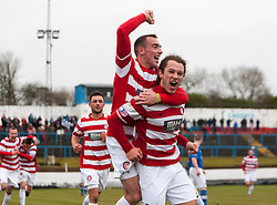 Hamilton's Steven May celebrates after scoring their goal..With Hamilton's Darian MacKinnon on his shoulders. Cowdenbeath v Hamilton, 9/3/2013..©Michael Schofield..