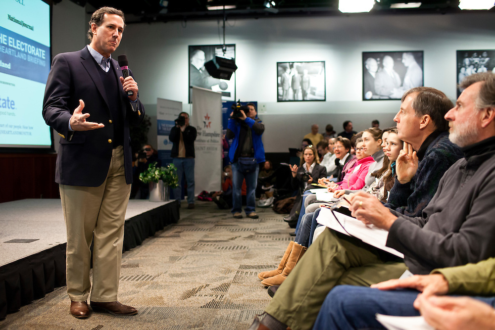 "Republican presidential candidate Rick Santorum participates in ""The Electorate and the Economy"" forum at St. Anselm College on Saturday, January 7, 2012 in Manchester, NH. Brendan Hoffman for the New York Times"