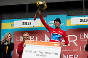 Jacob Hennessy of Canyon dhb p/b Bloor Homes on the podium wearing the KOM king of the mountains jersey during the first stage of the Tour de Yorkshire from Doncaster to Selby, Doncaster, United Kingdom on 2 May 2019.