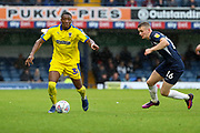 AFC Wimbledon defender Paul Kalambayi (30) dribbling during the EFL Sky Bet League 1 match between Southend United and AFC Wimbledon at Roots Hall, Southend, England on 12 October 2019.
