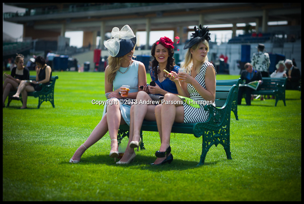 Racegoers enjoy drinks at Ascot races on Day 2 of Royal Ascot, <br /> Ascot, United Kingdom<br /> Wednesday, 19th June 2013<br /> Picture by Andrew Parsons / i-Images
