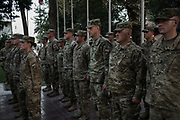 KABUL, AFGHANISTAN - SEPTEMBER 4: American Army members deployed for Mission Resolute Support (RS) take part in an end of tour medal ceremony at RS Headquarters on September 4, 2017 in Kabul, Afghanistan. Currently the United States has about 11,000 troops in the deployed in Afghanistan, with a reported 4,000 more expected to arrive in the coming weeks. Last month, President Donald Trump announced his plan for Afghanistan which called for an increase in troop numbers and a new conditions-based approach to the war, getting rid of a timetable for the withdrawal of American forces in the country. (Photo by Andrew Renneisen/Getty Images)