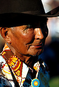 THIS PHOTO IS AVAILABLE FOR WEB DOWNLOAD ONLY. PLEASE CONTACT US FOR A LARGER PHOTO. Native American Indian old man with cowboy hat.  MR