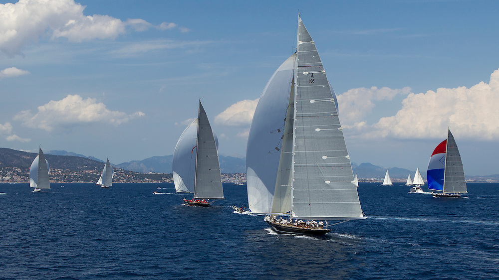 SPAIN, Palma. 21st June 2013. Superyacht Cup. J Class. Race three, coastal race. L-R, Ranger, Lionheart, Rainbow, Hanuman, Velsheda.