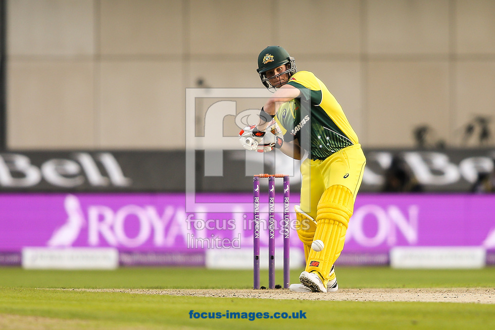 Steve Smith of Australia drives during the 3rd One Day International match at Old Trafford Cricket Ground, Stretford<br /> Picture by Andy Kearns/Focus Images Ltd 0781 864 4264<br /> 08/09/2015
