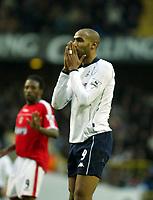 Photo. Chris Ratcliffe<br /> Tottenham Hotspur v Charlton Athletic. <br /> FA Premiership. 28/12/2003<br /> Freddie kanoute can only pray that Tottenham's fortunes improve
