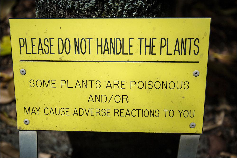 Sign at Foster Botanical Garden in Honolulu, HI. ©PF Bentley