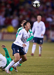 United States forward Brian Ching (11) on a header.  The United States men's soccer team defeated the Mexican national team 2-0 in CONCACAF final group qualifying for the 2010 World Cup at Columbus Crew Stadium in Columbus, Ohio on February 11, 2009.