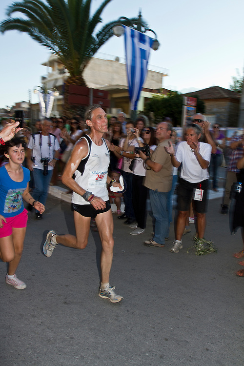 September 28 2013, Sparta city, Peloponnese, Greece - Michael Brandt from Germany reaching the finish line during the 31st Spartathlon marathon. Over 330 long distance runners from 35 countries followed the footsteps of ancient Athenian long distance runner Pheidippides and crossed 246 kilometers from Athens to Sparta during this year&rsquo;s race on 27-28 September 2013.<br />