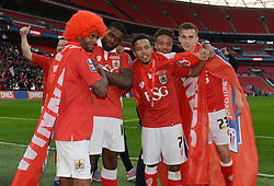 Bristol City's Mark Little, Jay Emmanuel-Thomas, Korey Smith, Bobby Reid and Joe Bryan celebrate the win against Walsall in the Johnstone Paint Trophy final - Photo mandatory by-line: Dougie Allward/JMP - Mobile: 07966 386802 - 22/03/2015 - SPORT - Football - London - Wembley Stadium - Bristol City v Walsall - Johnstone Paint Trophy Final