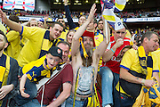 Arsenal fans celebrate during the The FA Cup match between Arsenal and Aston Villa at Wembley Stadium, London, England on 30 May 2015. Photo by Phil Duncan.