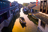 A canal scene in the water town of Zhouzhuang, China
