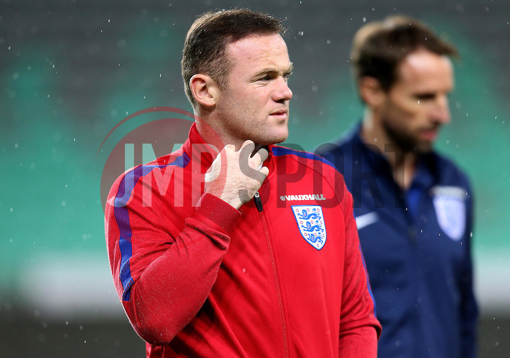 Wayne Rooney of England and England interim manager Gareth Southgate arrive at The SRC Stozice Stadium ahead of the World Cup Qualifier against Slovenia - Mandatory by-line: Robbie Stephenson/JMP - 10/10/2016 - FOOTBALL - SRC Stozice - Ljubljana, England - England Press Conference
