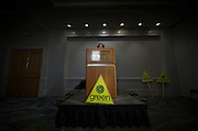 Green Party leader Elizabeth May holds a news conference during the Federal Election Campaign in Vancouver, BC. (2011)