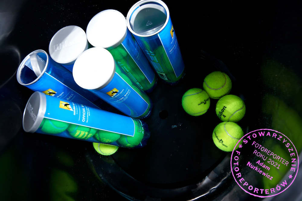Wilson official balls during First Day of the Fed Cup / World Group 1st round tennis match between Poland and Russia at Tauron Krakow Arena on February 7, 2015 in Cracow, Poland.<br /> <br /> Poland, Cracow, February 7, 2015<br /> <br /> Picture also available in RAW (NEF) or TIFF format on special request.<br /> <br /> For editorial use only. Any commercial or promotional use requires permission.<br /> <br /> Adam Nurkiewicz declares that he has no rights to the image of people at the photographs of his authorship.<br /> <br /> Mandatory credit:<br /> Photo by &copy; Adam Nurkiewicz / Mediasport