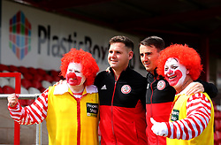 Billy Kee of Accrington Stanley and Sean McConville of Accrington Stanley pose with a couple of clowns - Mandatory by-line: Robbie Stephenson/JMP - 14/04/2018 - FOOTBALL - Wham Stadium - Accrington, England - Accrington Stanley v Exeter City - Sky Bet League Two