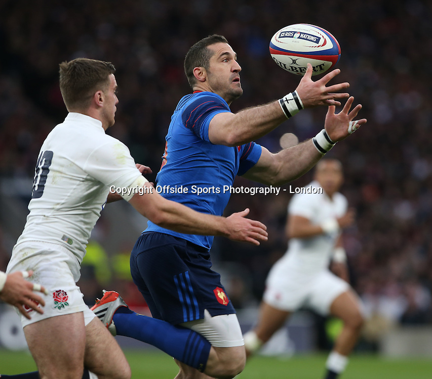 21 March 2015 - Six Nations Rugby - England v France ;  <br /> Scott Spedding of France catches the ball<br /> Photo: Mark Leech