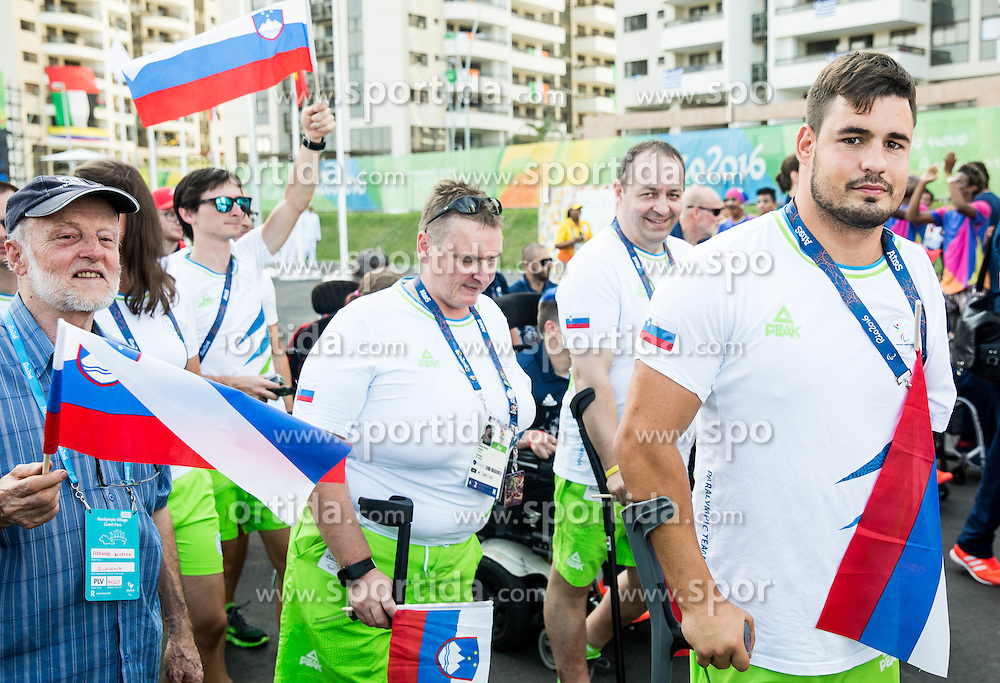 Damjan Pavlin, Francek Gorazd Tirsek Nani and Darko Duric during the Village flag raising ceremony ahead of the Rio 2016 Summer Paralympics Games on September 4, 2016 in the Paralympic Village, Rio de Janeiro, Brazil. Photo by Vid Ponikvar / Sportida