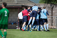 Celebrations after Paul Cooney late goal had won the cup for Riverside CSC - Riverside CSC (light blue) v Hilltown Hotspurs (green) in the Dundee Saturday Morning Football League Shaun Kelly Memorial Cup Final at North end, Dundee, Photo: David Young<br /> <br />  - &copy; David Young - www.davidyoungphoto.co.uk - email: davidyoungphoto@gmail.com