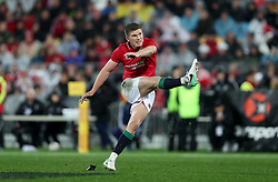 British and Irish Lions' Owen Farrell kicks during the second test of the 2017 British and Irish Lions tour at Westpac Stadium, Wellington.