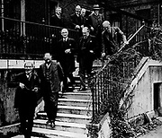 Second National Ministry under Ramsay Macdonald after the general election of 1931. Mambers of the ministry on the garden steps of 10 Downing Street, London.   Bottom left is Ramsay Macdonald. On steps in centre is Stanley Baldwin and on right with hand on the rail is Philip Snowden.