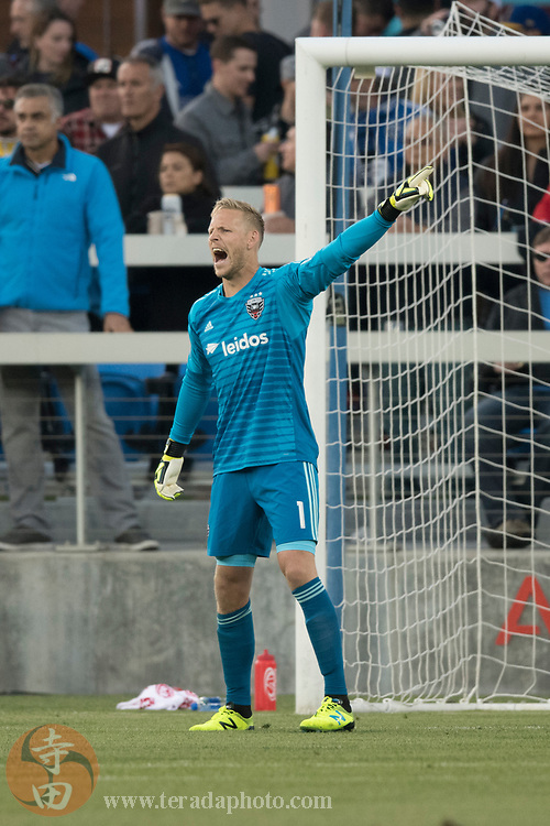May 19, 2018; San Jose, CA, USA; D.C. United goalkeeper David Ousted (1) during the first half against the San Jose Earthquakes at Avaya Stadium.