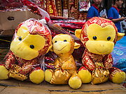 "03 FEBRUARY 2016 - BANGKOK, THAILAND:  Monkey plush toys for sale in a street stall in Bangkok's Chinatown. Thailand has the largest overseas Chinese population in the world; about 14 percent of Thais are of Chinese ancestry and some Chinese holidays, especially Chinese New Year, are widely celebrated in Thailand. Chinese New Year, also called Lunar New Year or Tet (in Vietnamese communities) starts Monday February 8. The coming year will be the ""Year of the Monkey.""            PHOTO BY JACK KURTZ"