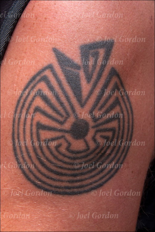 Close up of  the Hopi Maze Tattoo on his arm.<br />