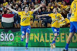 Josip Šarac of RK Celje Pivovarna Lasko and Gal Marguč of RK Celje Pivovarna Lasko during handball match between RK Celje Pivovarna Lasko (SLO) and of MOL Pick Szeged (HUN) in 9th Round of EHF Champions League 2019/20, on November 24, 2019 in Arena Zlatorog, Celje, Slovenia. Photo Grega Valancic / Sportida