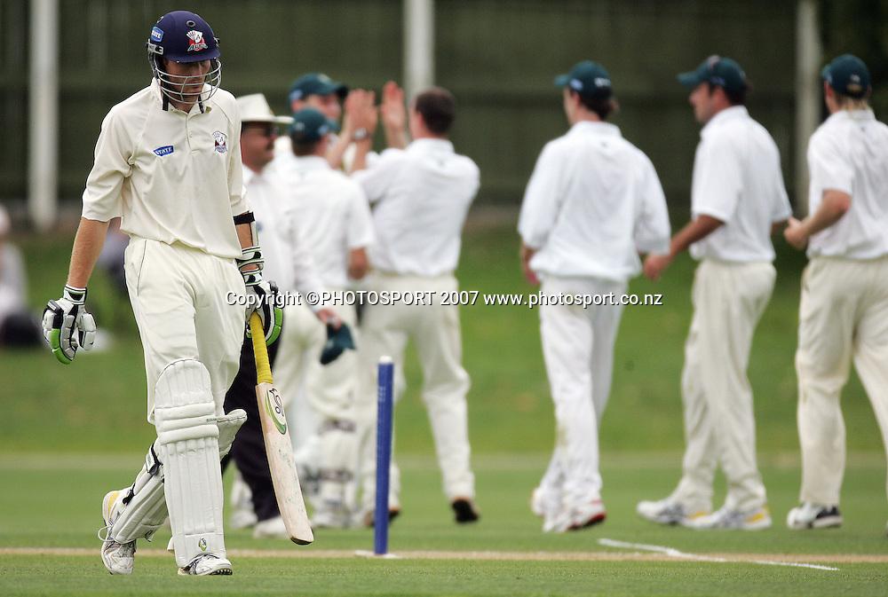 Auckland's Martin Guptill leaves the feild after being caught out. Auckland Aces v Central Stags. State Championship Cricket. Eden Park Outer Oval, Auckland, New Zealand. Tuesday 20 November 2007. Photo: Hagen Hopkins/PHOTOSPORT