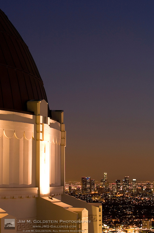 A dusk view of downtown Los Angeles from Griffith Observatory in Griffith Park.