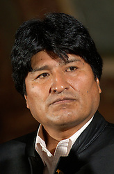Evo Morales, President of Bolivia, speaks during a press conference in Brussels, on Tuesday, May 16, 2006. Morales held talks with top Belgian government officials concerning his energy nationalization plans. Morales had addressed lawmakers at the European Parliament in Strasbourg, France, on Monday, telling them he would not prevent European energy companies from investing in Bolivia. Earlier this month, he had announced plans to nationalize his South American country's natural gas and oil sector, causing widespread concern that was voiced during last week's EU-Latin America summit. EU leaders urged him not to adopt protectionist economic policies, which they said could be detrimental in fighting poverty and act as a deterrent to foreign investors. Bolivia has the second-largest natural gas reserves in South America, after Venezuela. (Photo © Jock Fistick)