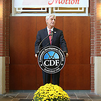 Adam Robison | BUY AT PHOTOS.DJOURNAL.COM<br /> Phil Bryant, Mississippi Governor, announces Southern Motion's move into the old Hancock Fabrics building in Baldwyn and the creation of 600 jobs over five years Wednesday afternoon in Baldwyn.