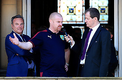 Burnley Manager Sean Dyche and Chairman Mike Garlick chat with Alastair Campbell - Mandatory by-line: Matt McNulty/JMP - 09/05/2016 - FOOTBALL - Burnley Town Hall - Burnley, England - Burnley FC Championship Trophy Presentation