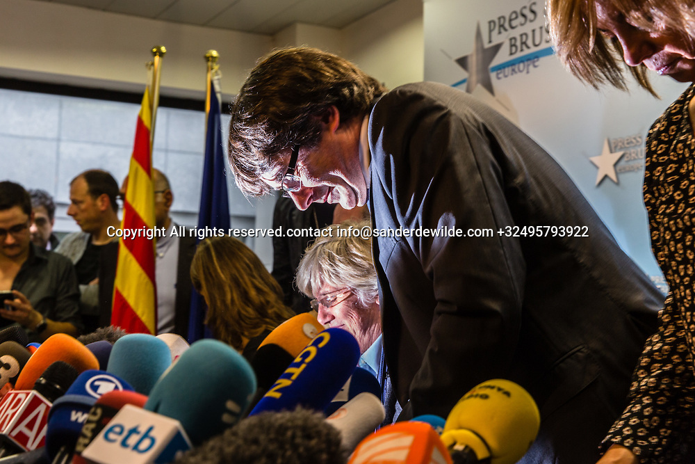 """Brussels Belgium 2017 Oktober 31 Catalonia's ousted president, Carles Puigdemont, said during a crowded press conference at the Brussels Press Centre to act """"in freedom and safety"""", but not to seek political asylum.Leaving at the end of the pc"""