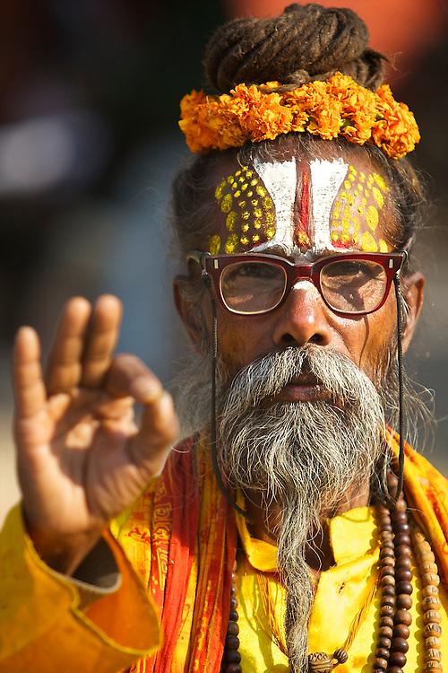 Portrait of a Sadhu in Kathmandu, Nepal.
