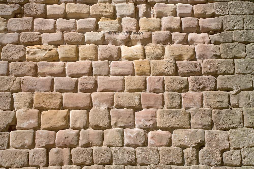 Yorkshire, Fountains Abbey ruins: ashlar masonry detail of finely shaped rectangular stones.