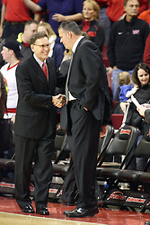02 January 2013:  Rob Judson and Greg McDermot ahake hands during an NCAA Missouri Vally Conference (MVC) mens basketball game between the Creighton University Bluejays and the Illinois State Redbirds in Redbird Arena, Normal IL