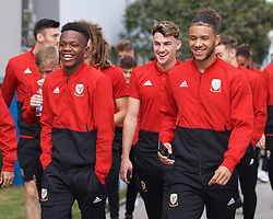 BRATISLAVA, SLOVAKIA - Thursday, October 10, 2019: Wales' (L-R) Rabbi Matondo, Joe Rodon and Tyler Roberts during a pre-match team walk near the Hotel NH Bratislava Gate One ahead of the UEFA Euro 2020 Qualifying Group E match between Slovakia and Wales. (Pic by David Rawcliffe/Propaganda)