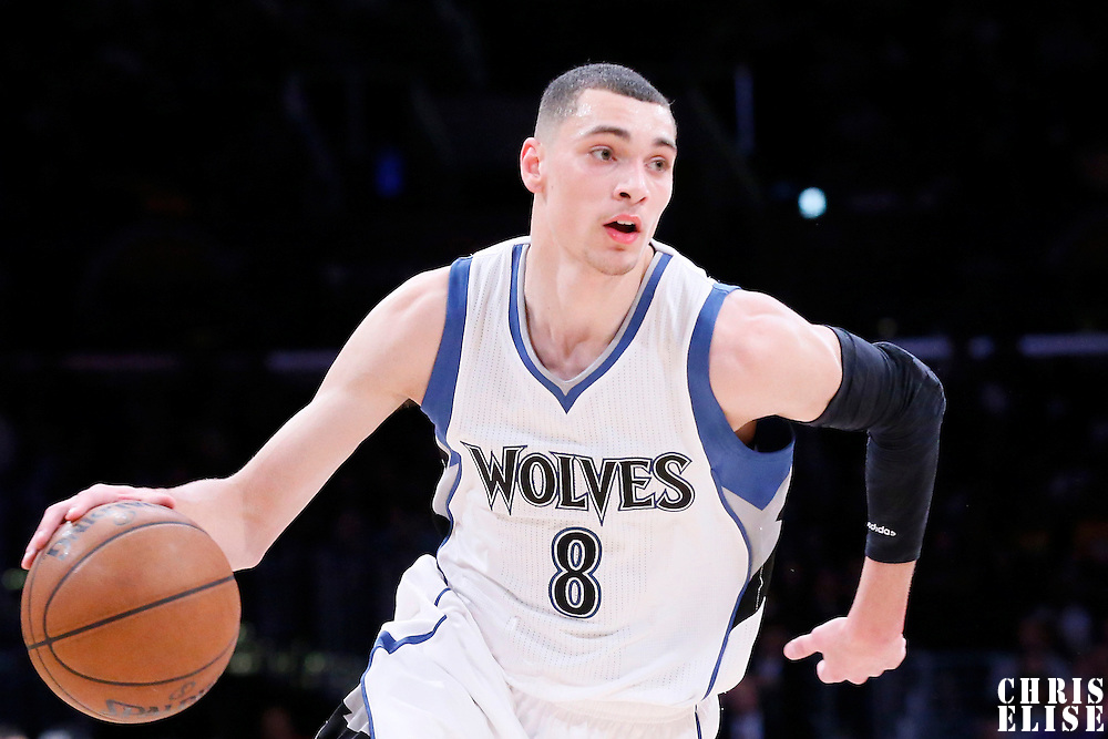 10 April 2014: Minnesota Timberwolves guard Zach LaVine (8) dribbles during the Los Angeles Lakers 106-98 victory over the Minnesota Timberwolves, at the Staples Center, Los Angeles, California, USA.