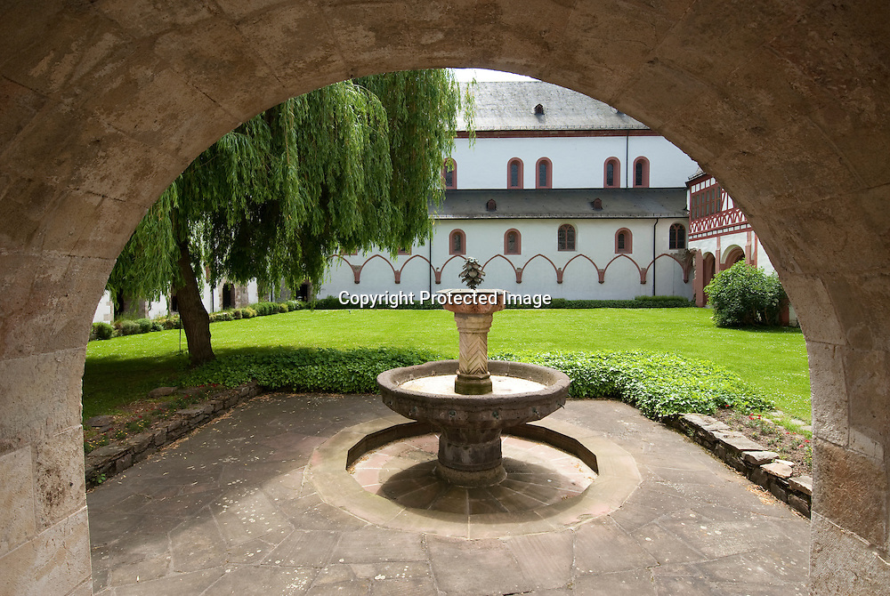 A fountain in the internal yard of the Eberbach Monastery in Eltville, Germany
