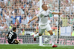 Real Madrid's Karim Benzema celebrates goal during La Liga match.September 2 2009.