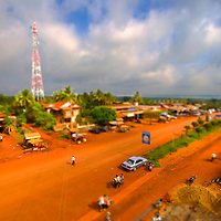 Tilt shift photo of Snuol, Cambodia