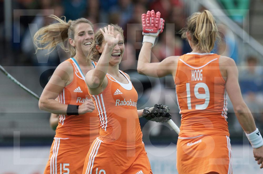 ROTTERDAM - Hock World League Semi Final Women<br /> Netherlands v Chile<br /> foto: celebration Netherlands.<br /> Sabine Mol, Kelly Jonker and Ellen Hoog.<br /> FFU PRESS AGENCY COPYRIGHT FRANK UIJLENBROEK