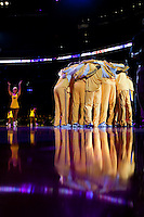02 January 2009: The Los Angeles Lakers huddle up while the Laker Girls dance before the Lakers 113-100 victory over the Utah Jazz at the STAPLES Center in Los Angeles, CA.