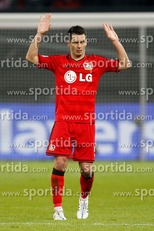 25.02.2015, BayArena, Leverkusen, GER, UEFA EL, Bayer 04 Leverkusen vs Atletico Madrid, 1. Runde, R&uuml;ckspiel, im Bild Emir Spahic (Bayer 04 Leverkusen #5) // during the UEFA Europa League 1st Round, 2nd Leg match between Bayer 04 Leverkusen and Atletico Madrid at the BayArena in Leverkusen, Germany on 2015/02/25. EXPA Pictures &copy; 2015, PhotoCredit: EXPA/ Eibner-Pressefoto/ Schueler<br /> <br /> *****ATTENTION - OUT of GER*****