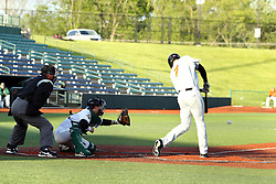 14 May 2016: Dylan Kelly prepares to catch a ball that gets put into play by batter Boo Vasquez during a Frontier League Baseball game between the Joliet Slammers and the Normal CornBelters at Corn Crib Stadium on the campus of Heartland Community College in Normal Illinois